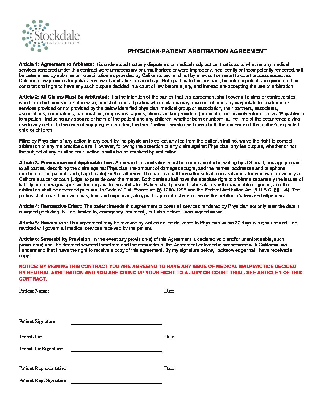 Physician-Patient Arbitration Agreement