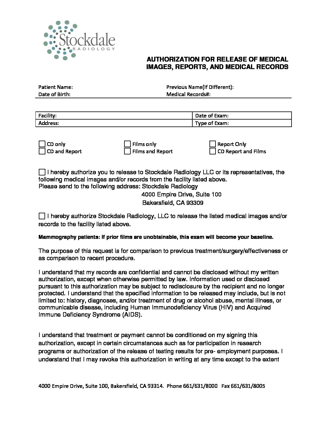 Authorization for Release of Medical Images, Reports, and Medical Records