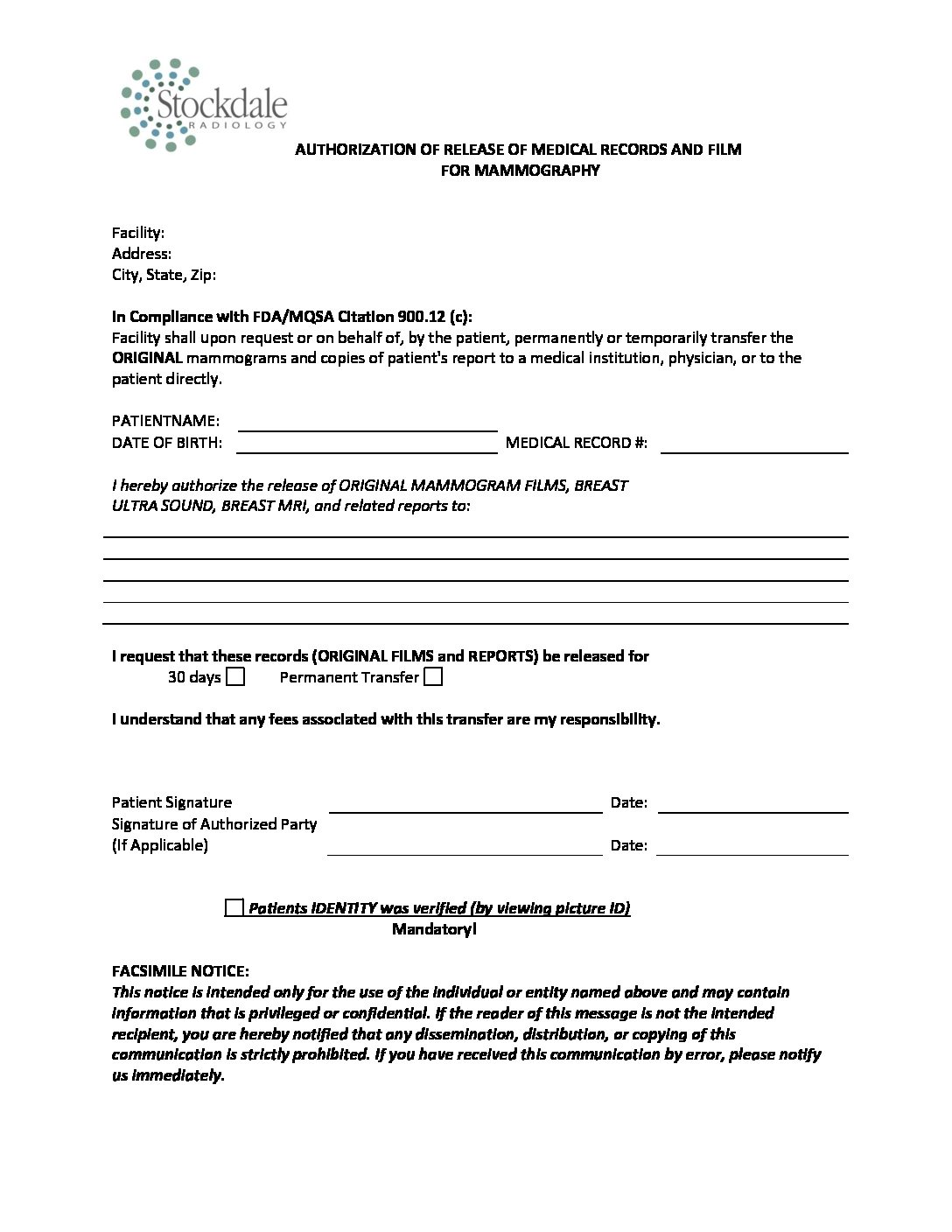 Authorization of Release for Medical Records and Films for Mammography