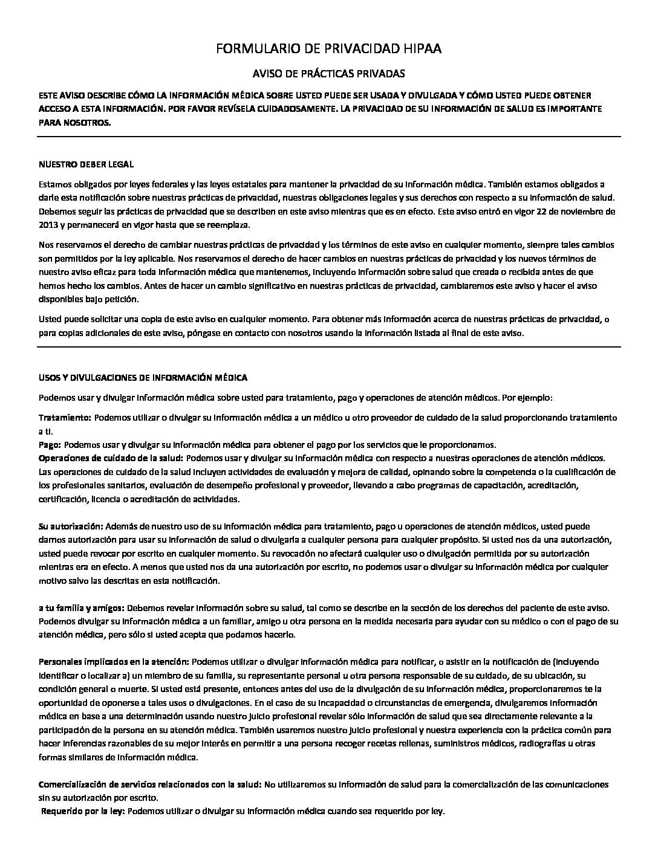 HIPAA spanish
